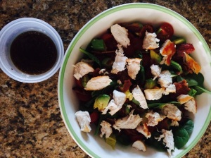 paleo chicken BLT salad with dressing